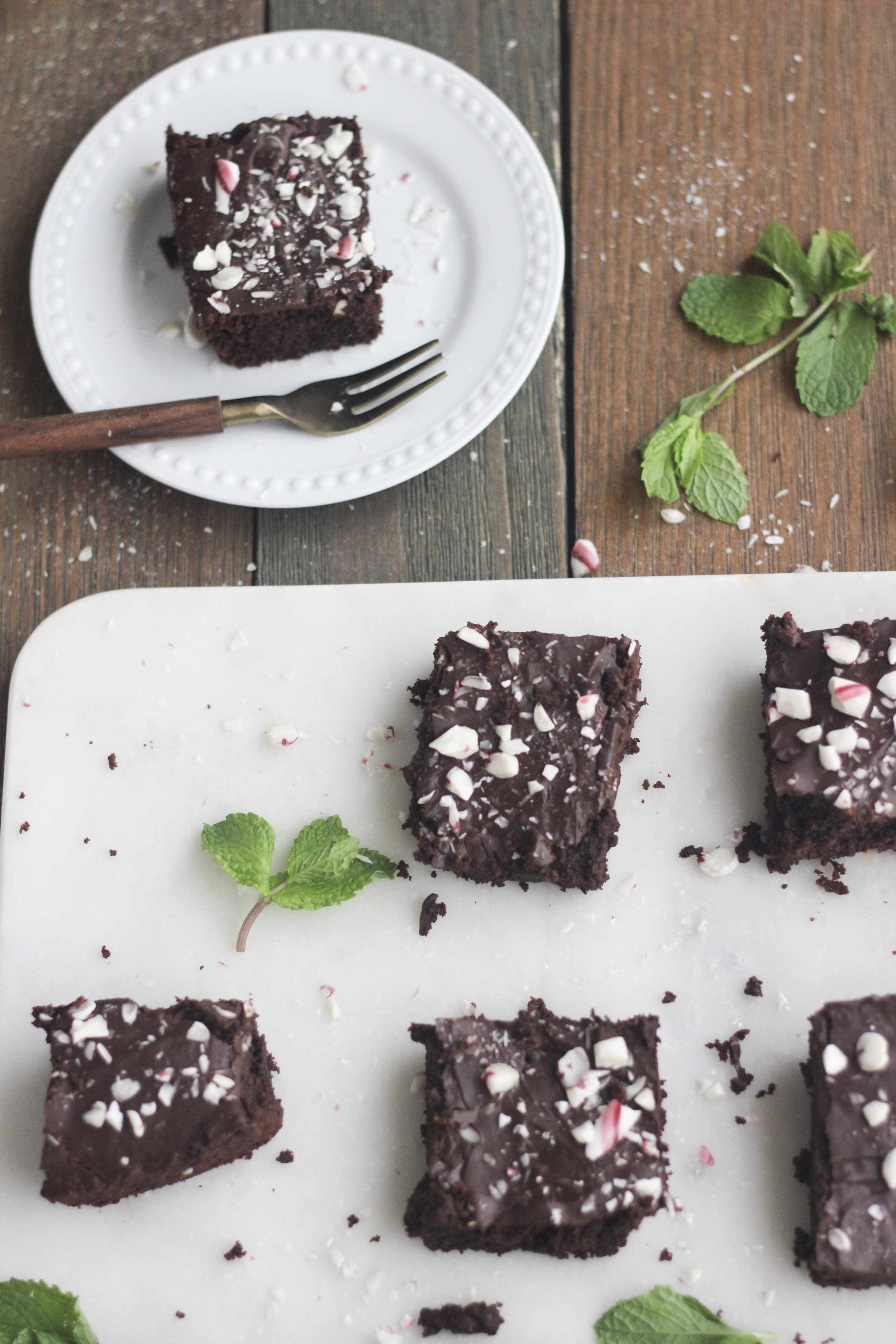 Gluten-free Paleo peppermint brownies dairy-free grain-free Christmas recipe