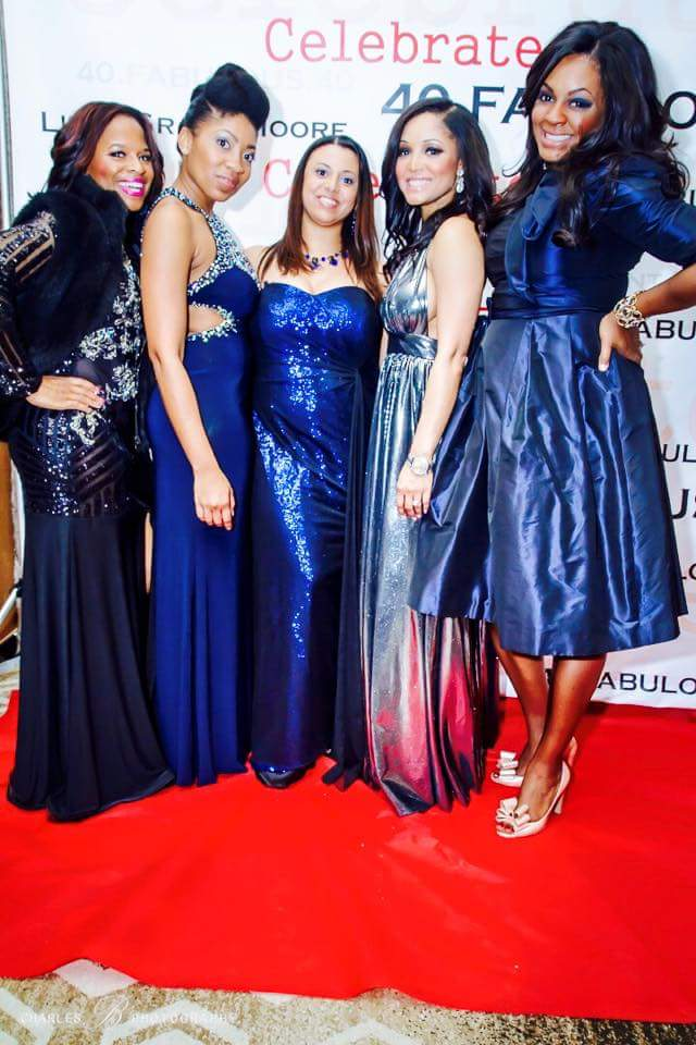 Pictured to the far right in theis Ebony from  The Proper Protocol  Blog (Connoisseur of tea and all things proper). I absolutely loved the Red Carpet ambiance of this night. Lisah's skills at creating special events are grand and always fun to be a part of.