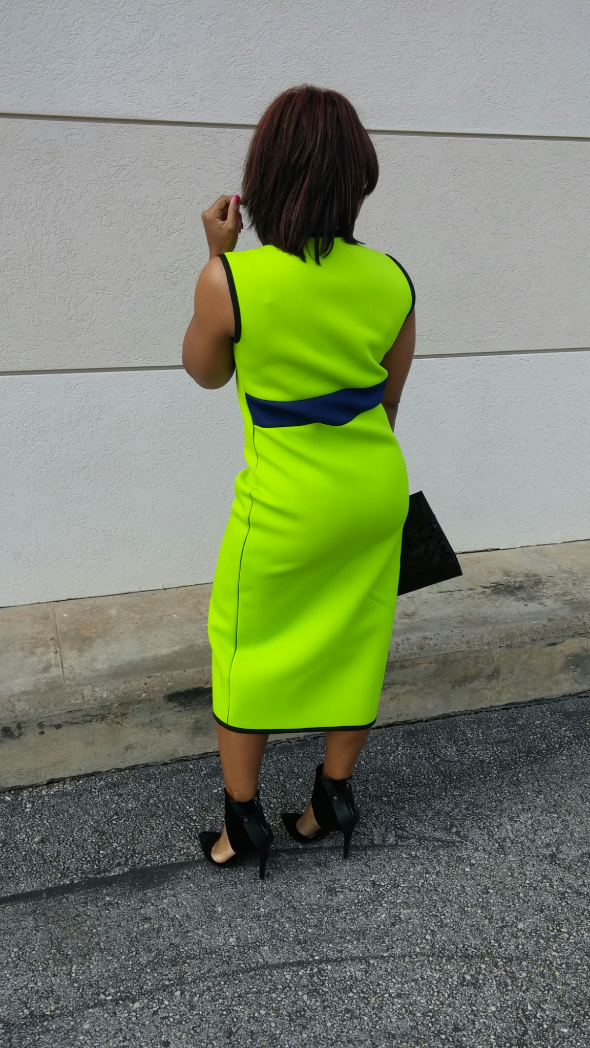 Neon Green Neoprene Dress by 3degreesdb.com