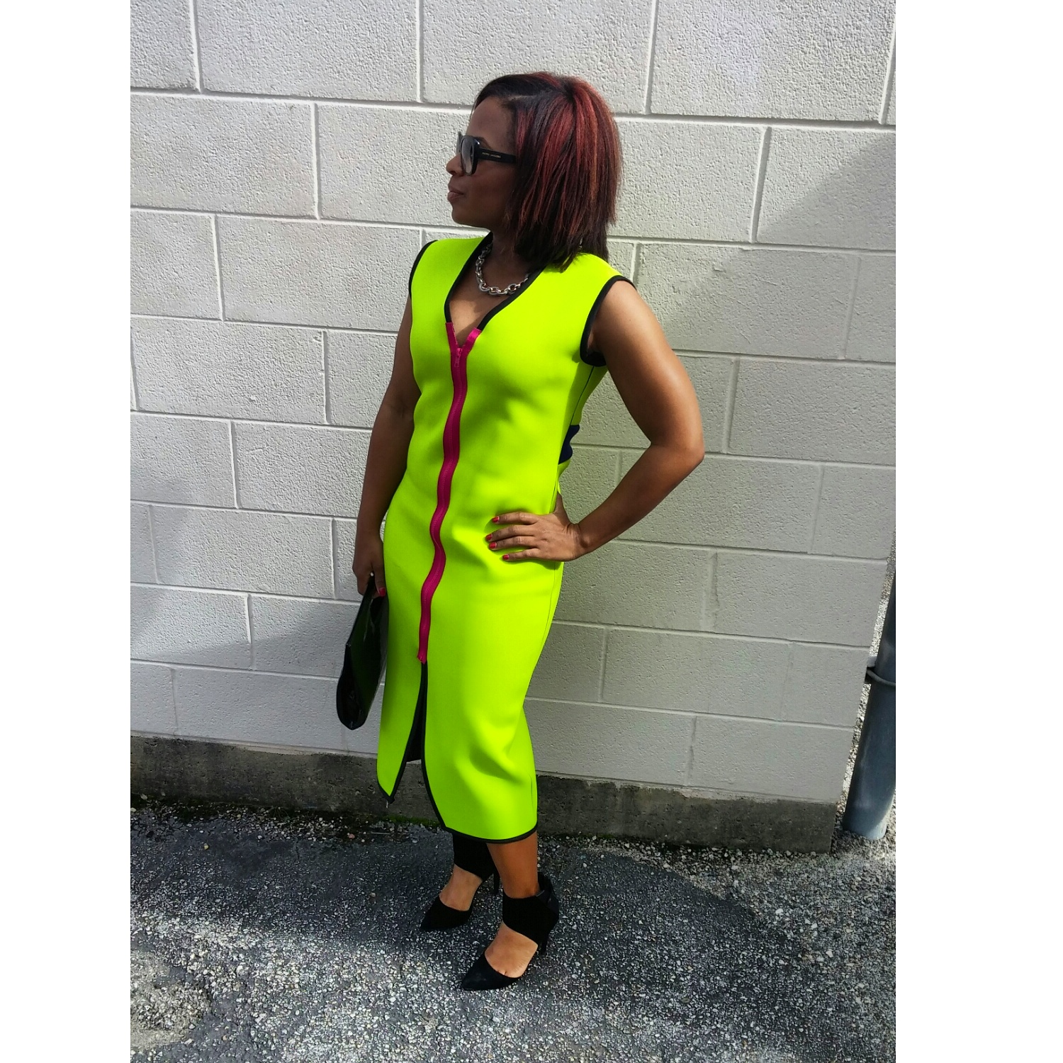 Neon Neoprene dress by 3degreesdb.com