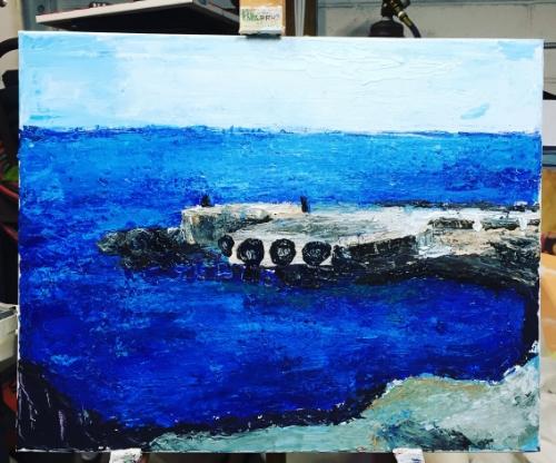 "Newest Kalaupapa Painting ""Blue."""