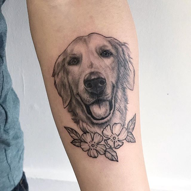 Semi realistic portrait of Jay's dog! Such a sweet face.  You can carry your pet with you forever ❤️🐶 • • Done by @pizzasharktattoo at @lucky13toronto • • • • #dogtattoo #dogs #realistictattoo #realismtattoo #blackwork #btattooing #blackworkers #dogportrait #toronto #torontotattoo #thesix #tattoo #goldenretriever #lucky13toronto #lucky13tattoo #torontoink #allstyles #customtattoos #furbaby #girlswithtattoos #guyswithtattoos #tattooedpeople #torontotattooshop #follow