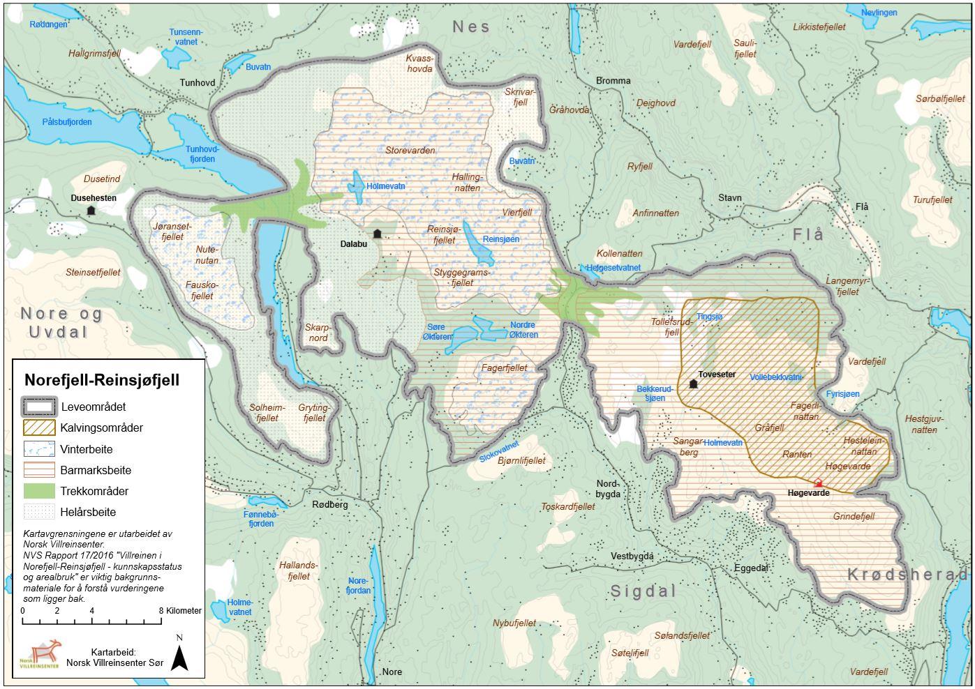 Eksempel på sluttprodukt etter kartlegging av villreinens arealbruk; temakart for Norefjell-Reinsjøfjell.