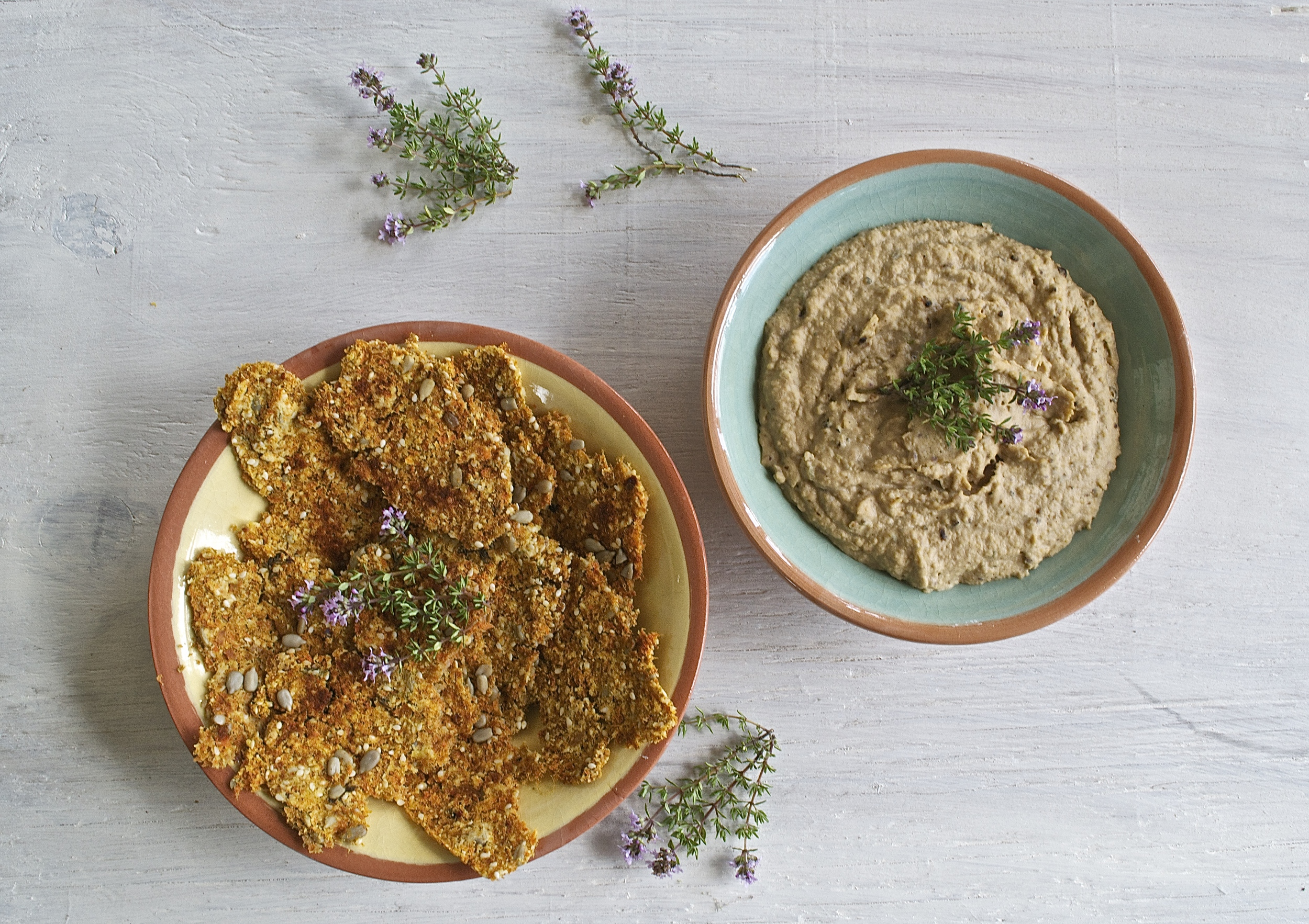 Balsamic Caramelised Onion Hummus with Carrot Thyme Crackers | The Herb Diaries