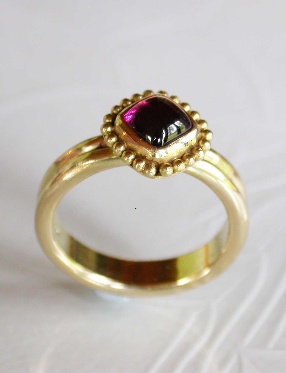 Gold garnet granulation ring