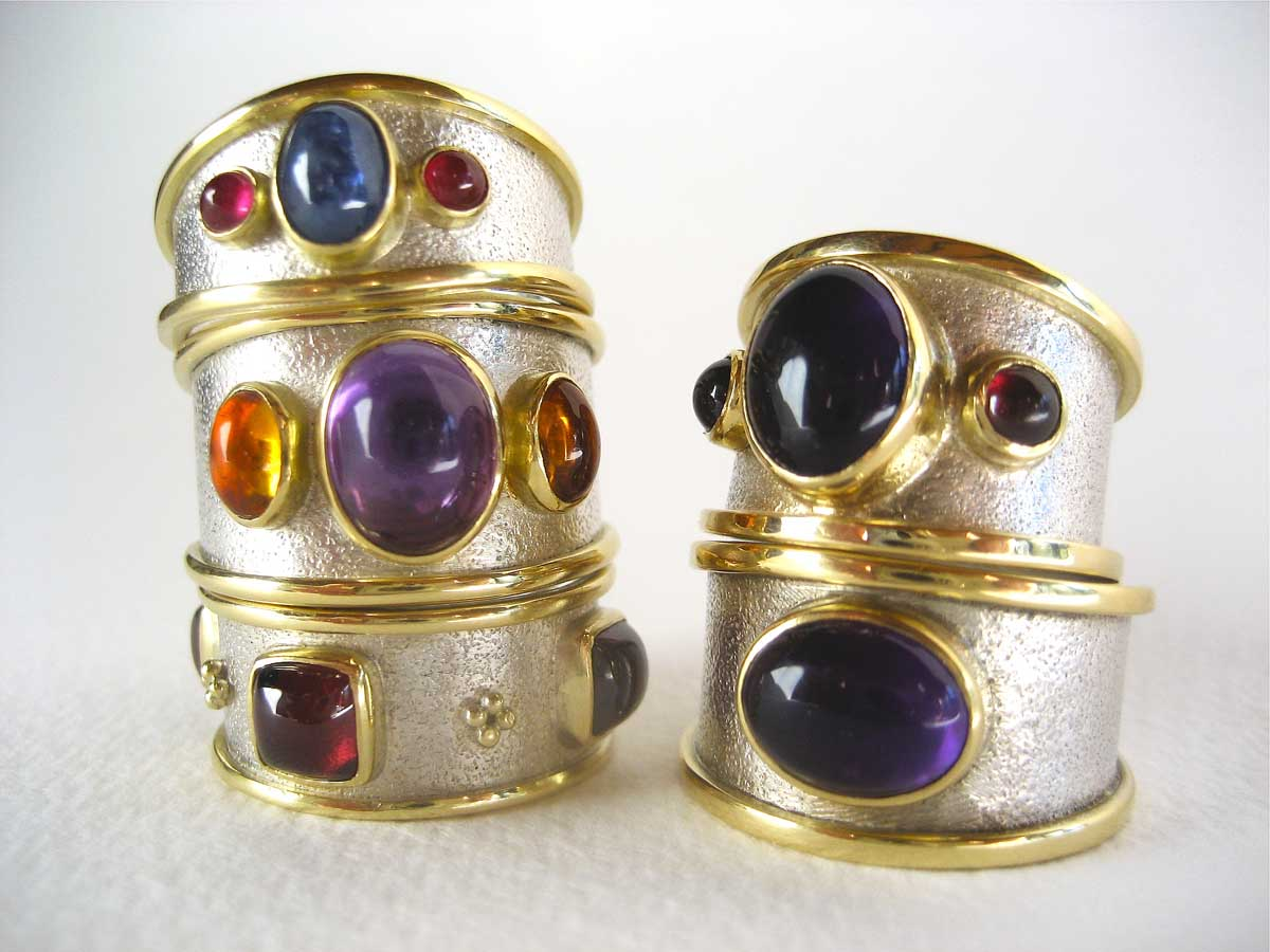 Silver & gold rings with richly coloured stones