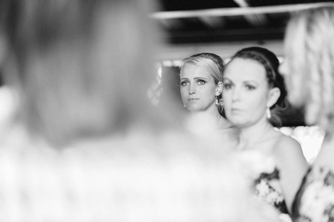 The Bridesmaids get ready to walk down the Isle at Ordsall Hall Wedding Venue