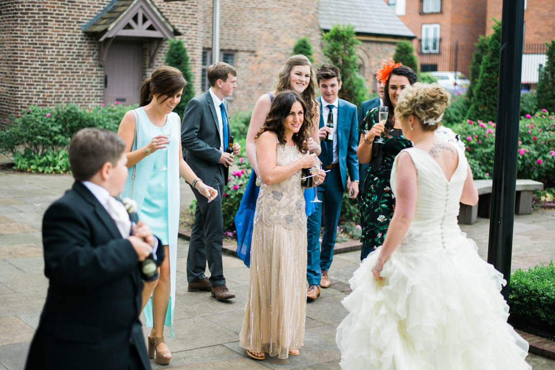 Greeting Guests at Ordsall Hall Wedding Venue