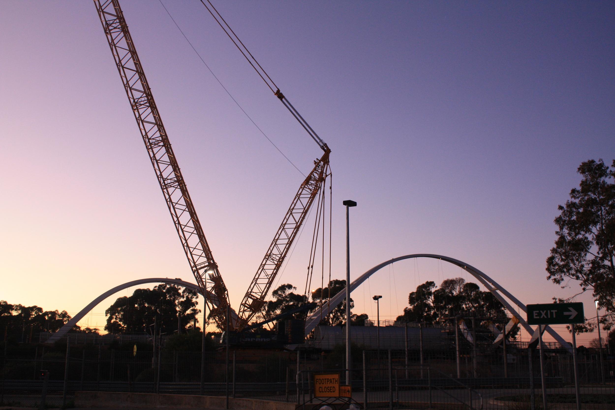 The Mandurah Road Pedestrian Bridge under construction
