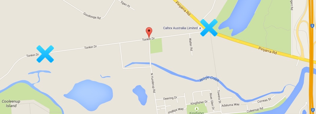 The first cross is Tonkin drive - you can see the caltex petrol station marked. The Second Cross marks where Tonkin Drive turns into a dirt road.