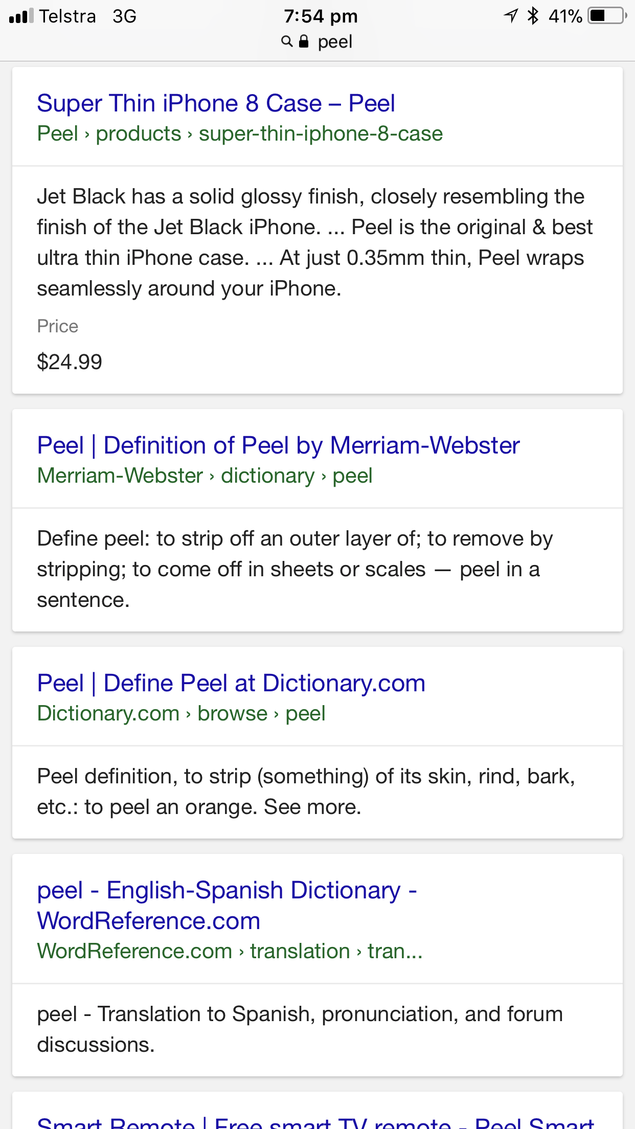 """Here's what people outside Western Australia see when they google """"Peel""""."""