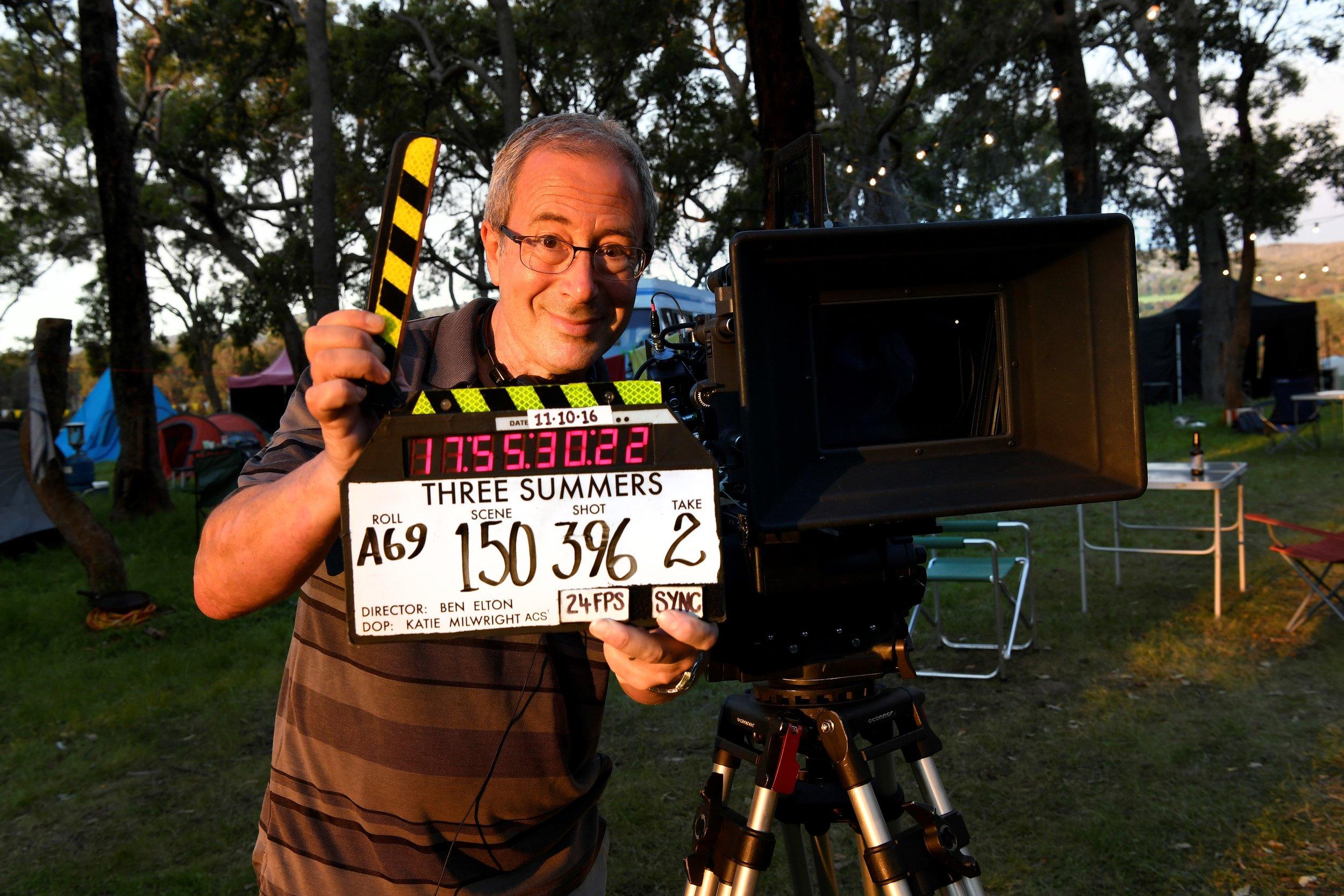 Ben Elton during filming of Three Summers