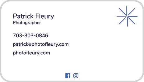 Patrick Fleury Photography Business Card Back