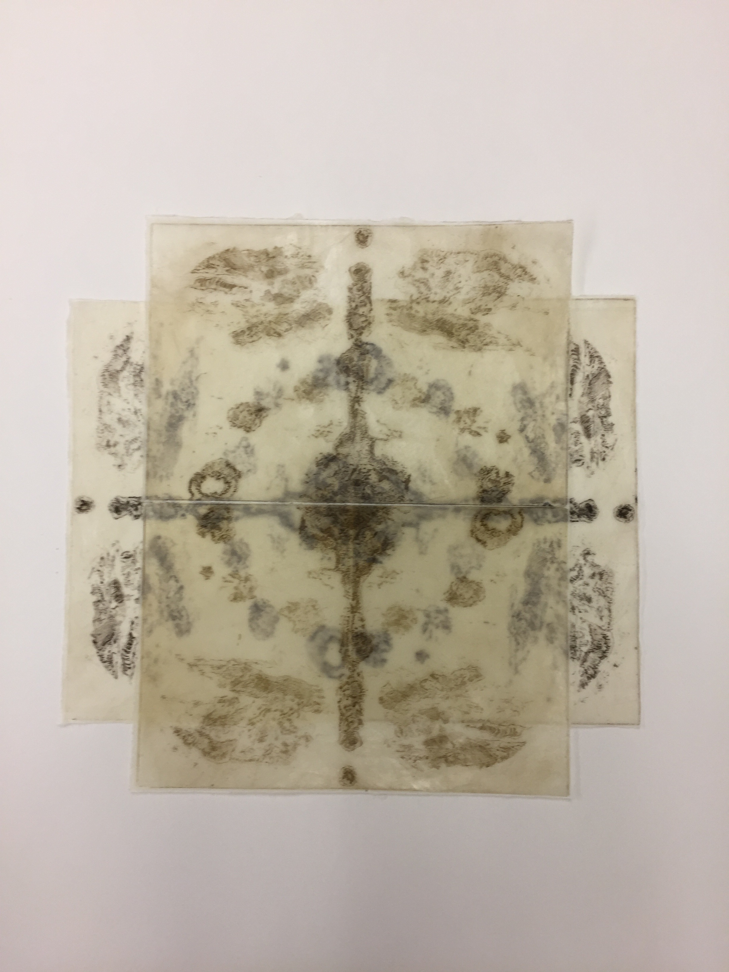 Etching on rice paper and wax