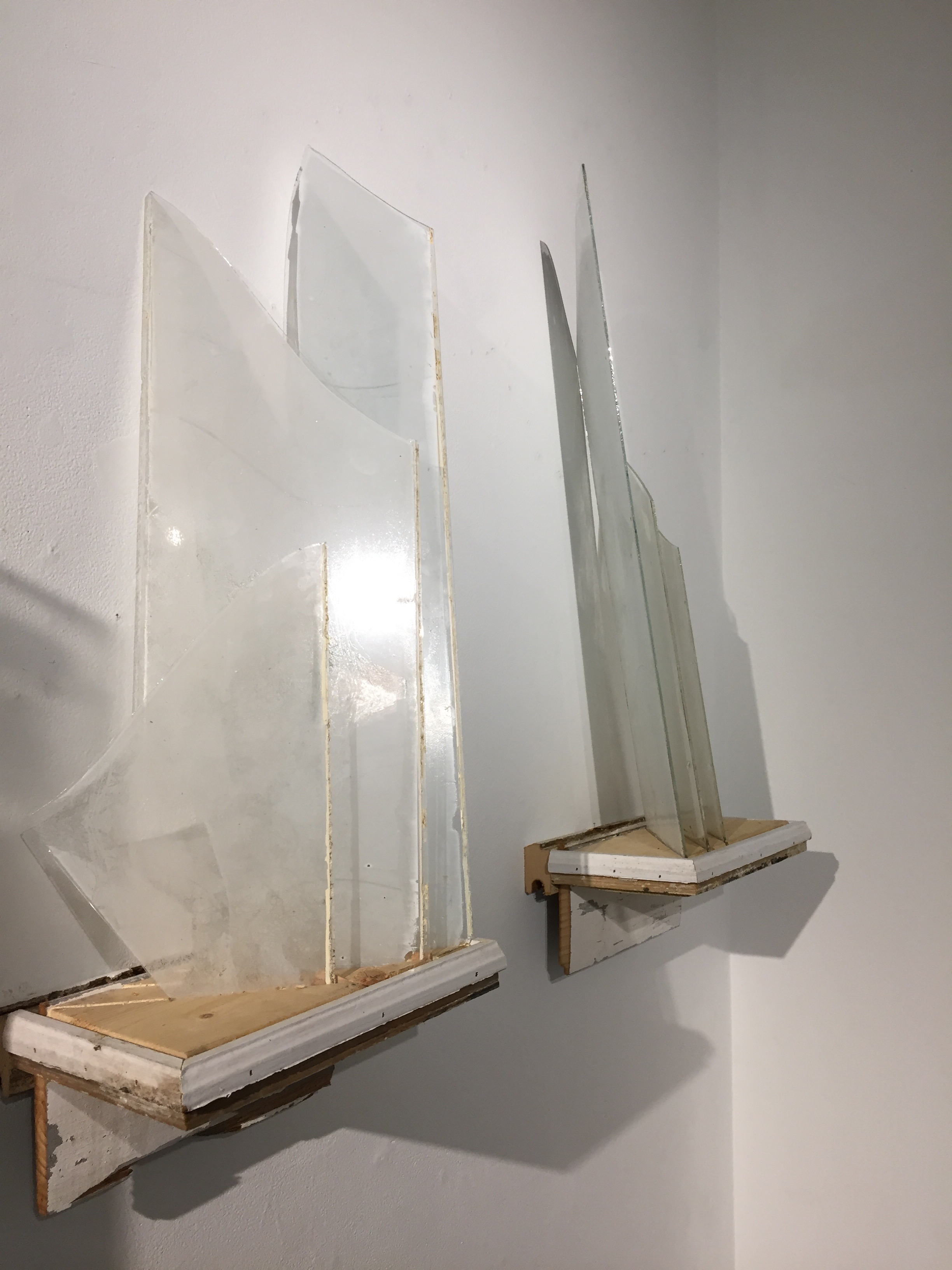 Shards of glass with screen print images