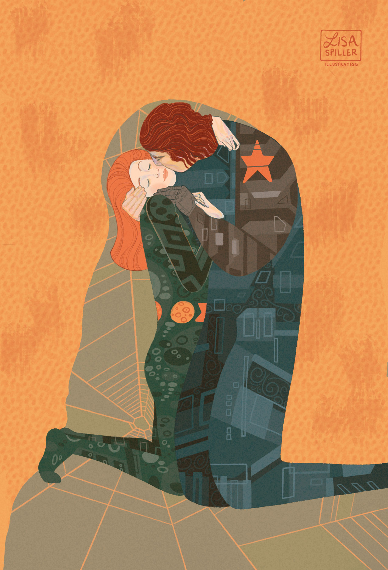 Parody of Klimt's  The Kiss,  featuring Black Widow and the Winter Solider (Marvel's greatest dynamic duo!)