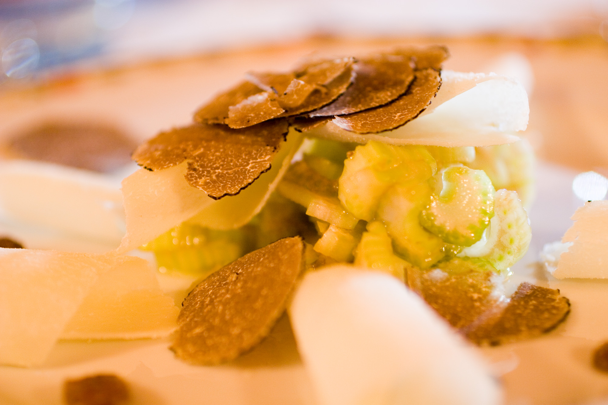 Black trufle with celery and Parmesan cheese at Tra Arte and Querce, Monchiero Alto, Piemonte, Italy