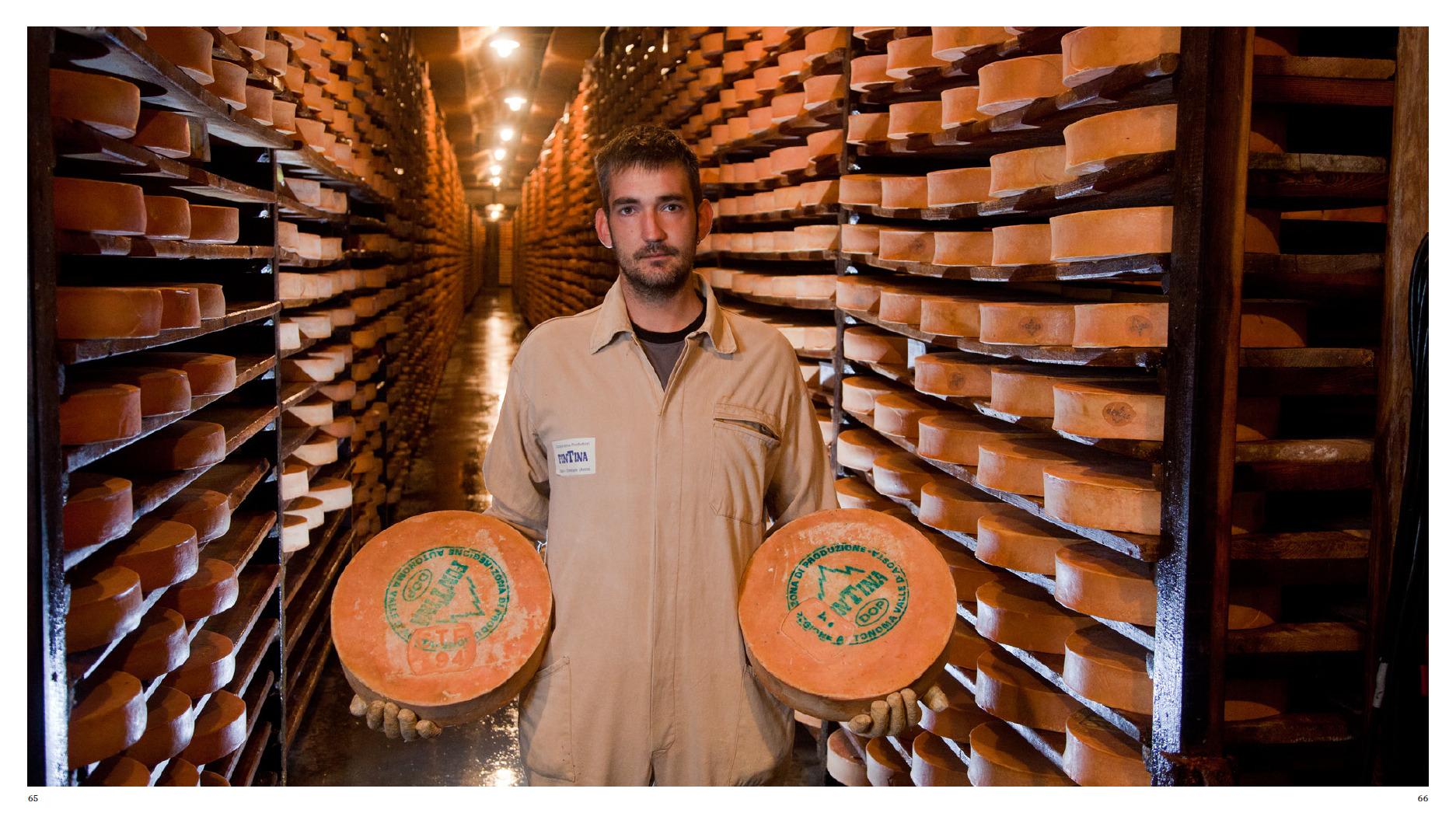 Fontina Cheese storage cellar in Issogne, Aosta Valley, Italy