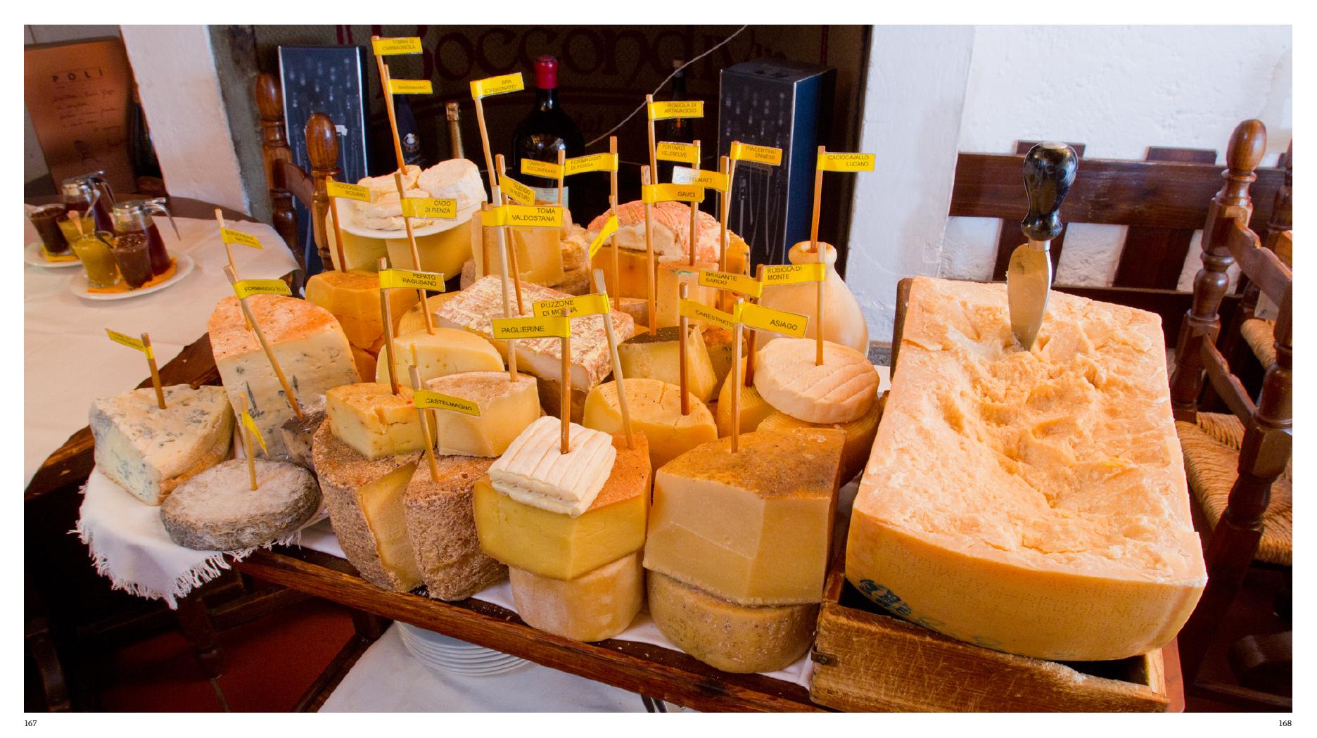 Cheese tray in Osteria Boccondivino, Milano, Italy