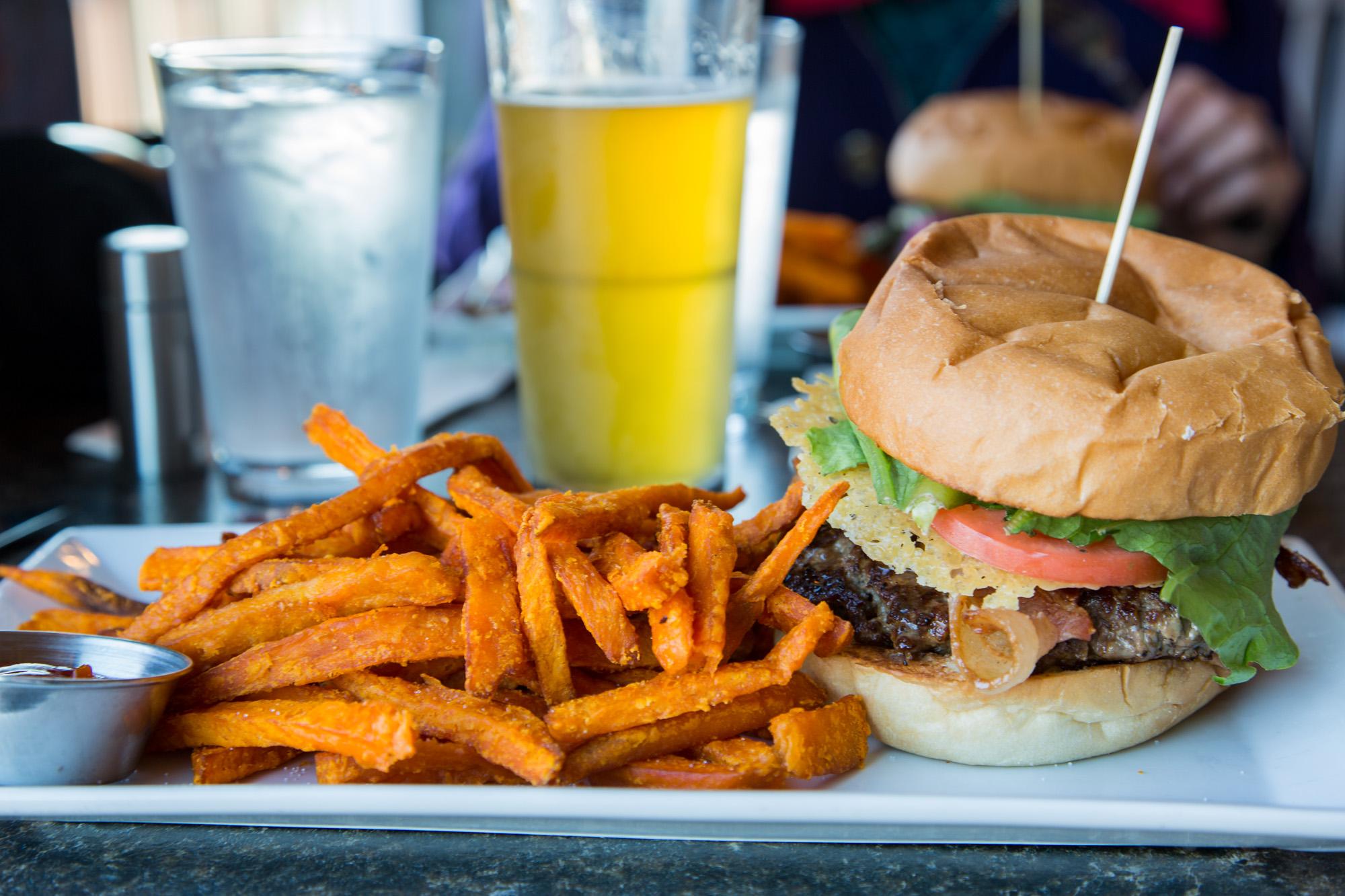 Hamburger and Sweet Potato Fries, Seaward, Alaska, USA