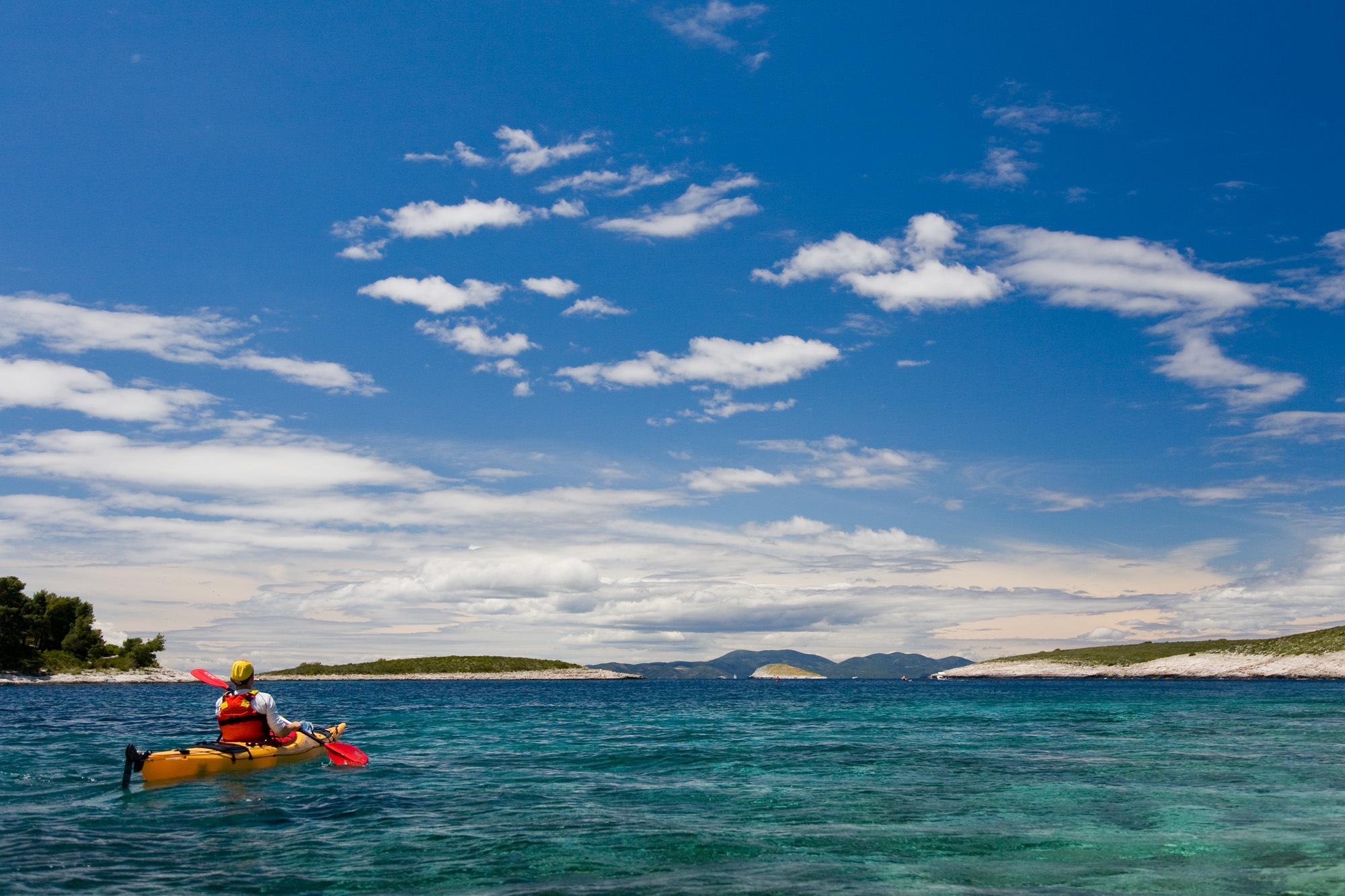 Kayaking in the Pakleni archipelago, Croatia
