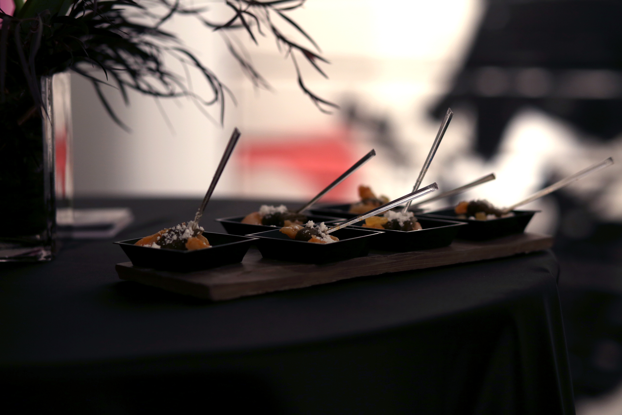 Shrimp-filled Smoked Okra with Tomato Roe