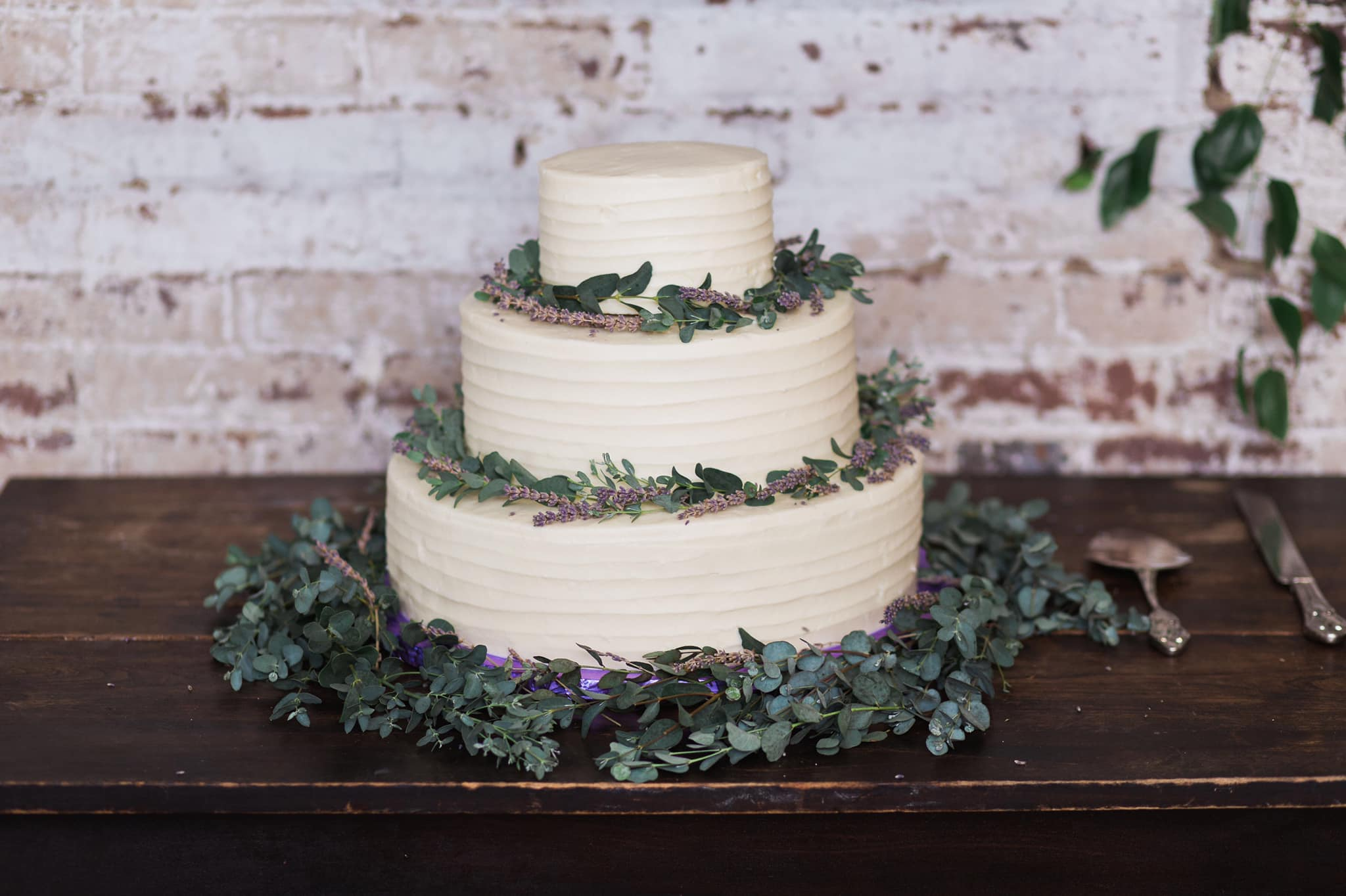 Cake with Lavender and Greenery and Horizontal Lines.jpg