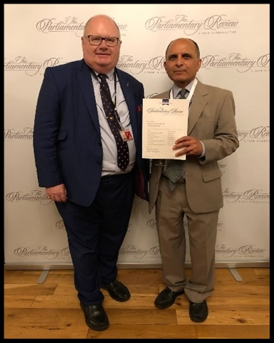 ETD's Managing Director Dr Ahmed Shibli with Rt Hon The Lord Pickles, Chairman of The Parliamentary Review, in the Houses of Parliament, UK.