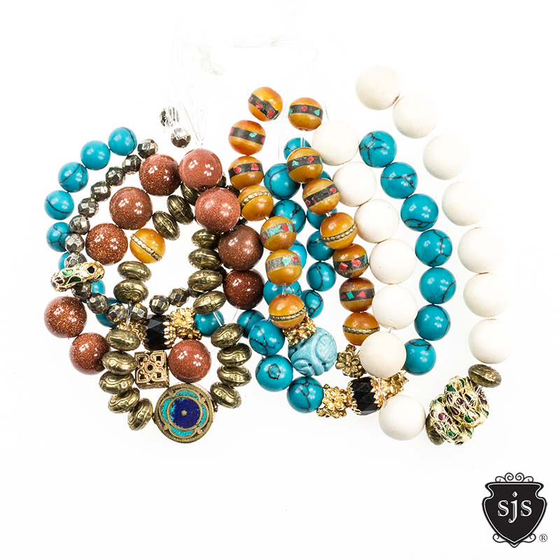 Great for Stacking our SJS Glitter Bracelets are designed with semi precious stones, natural findings and vintage rarities. Come design some arm candy for you.