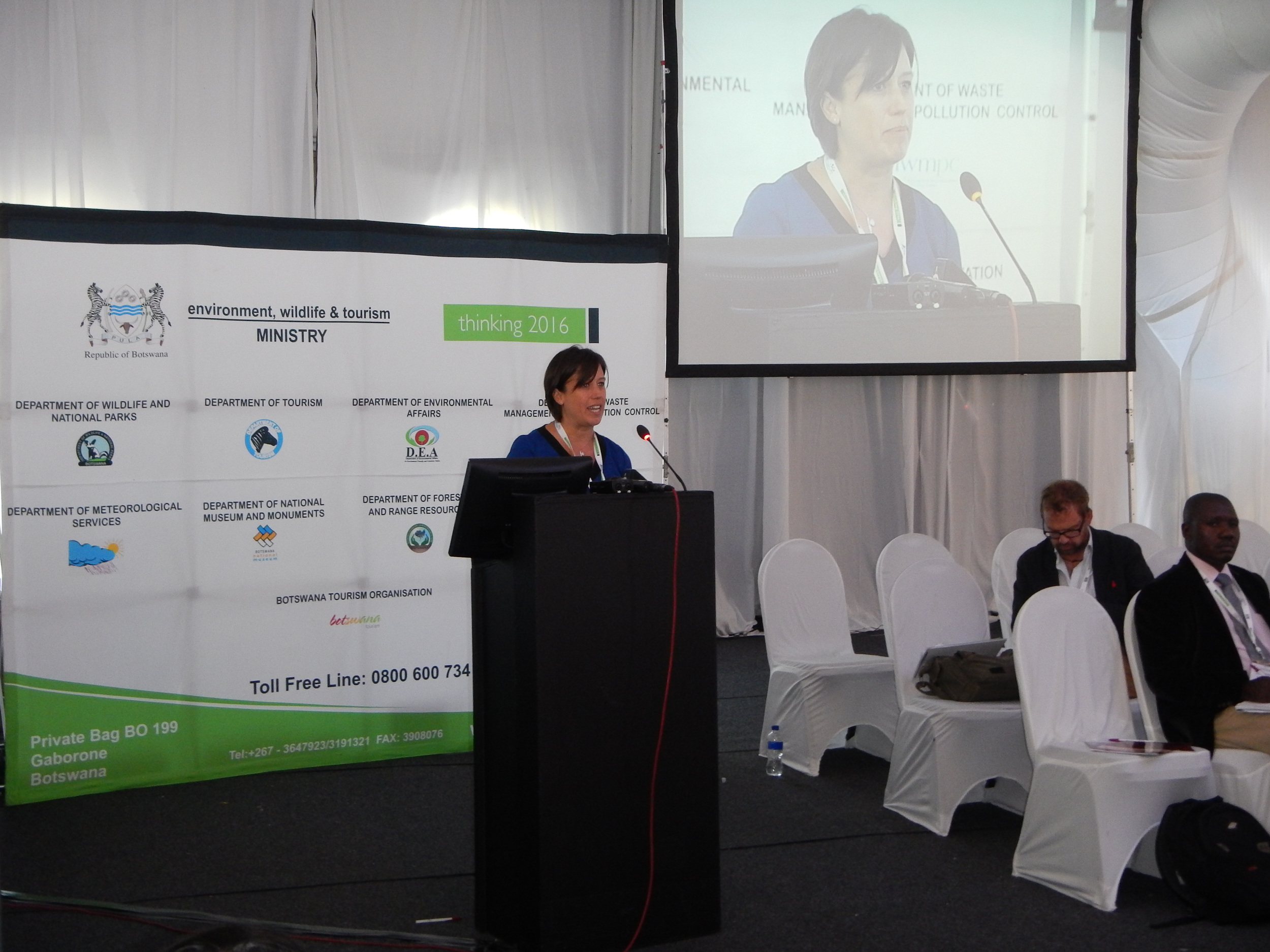 Dune Ives, Vulcan Philanthropy's Senior Director of Philanthropic Initiatives and co-lead manager of the Paul G. Allen Family Foundation addresses the delegates of the African Elephant Summit in Kasane, Botswana on March 23, 2015.