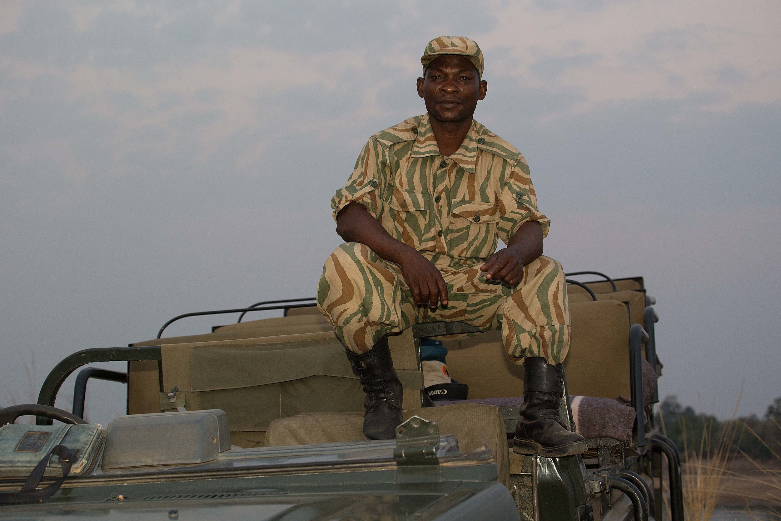 A ranger from Zambia's Department of National Parks and Wildlife, the boots on the ground protecting elephants from poachers.