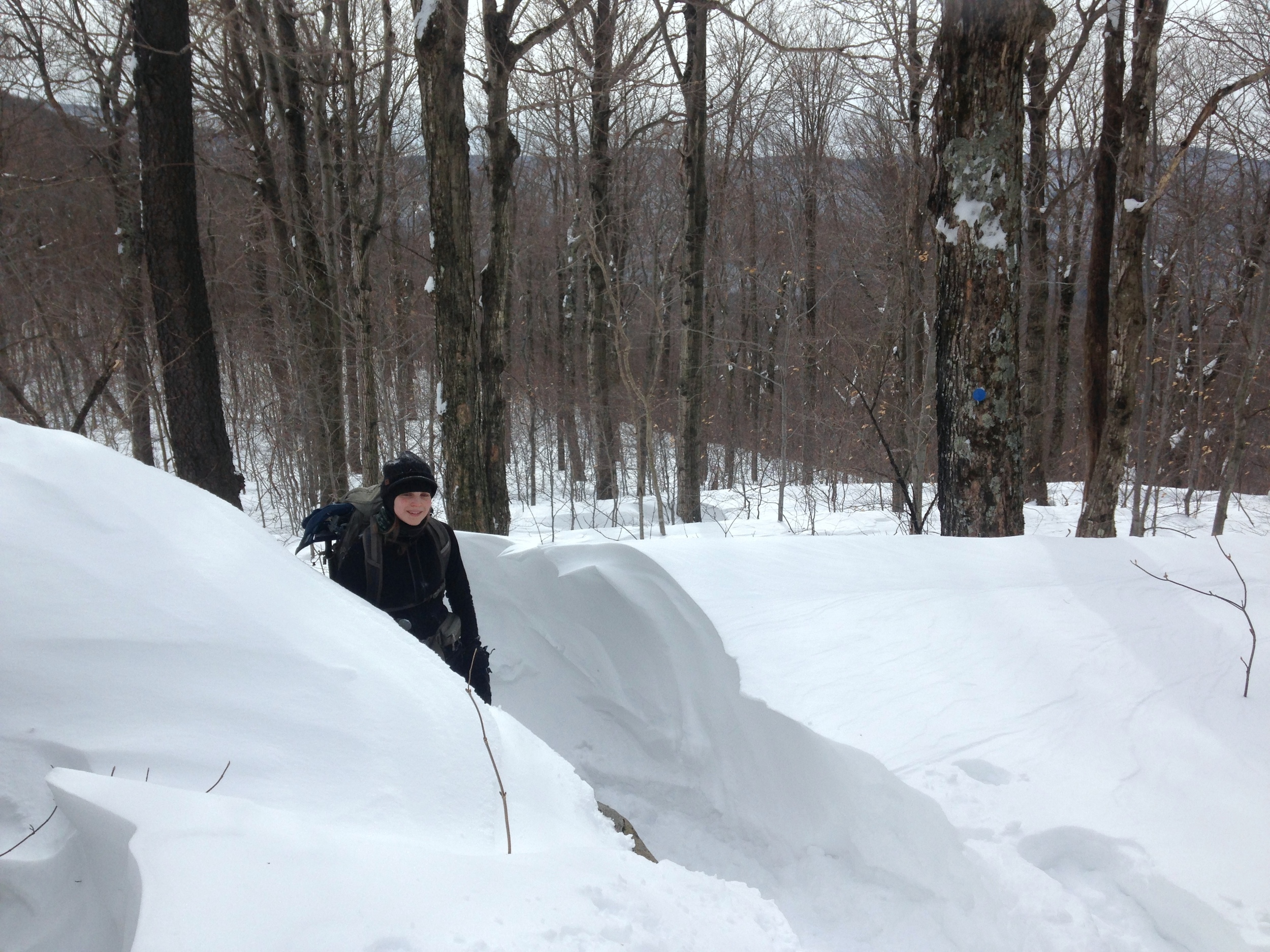 Elizabeth with a 4' snow cornice