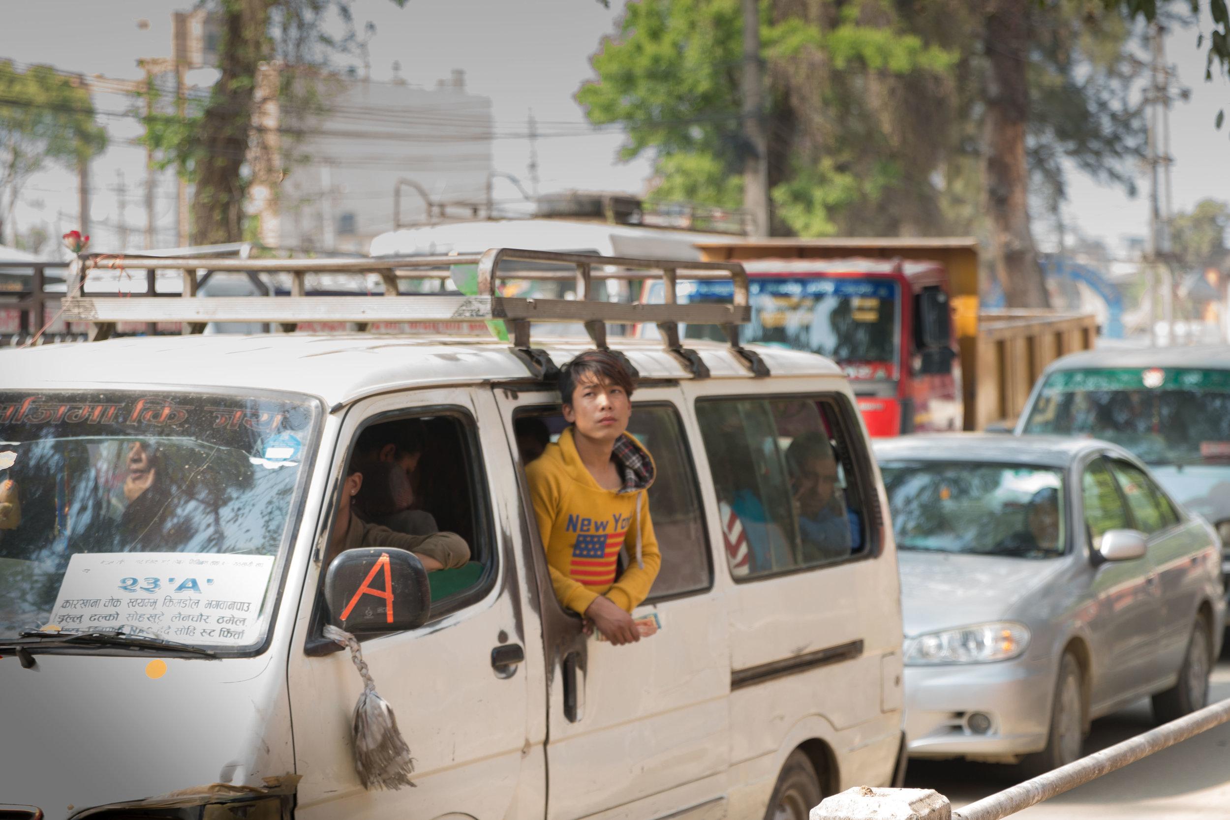 Chaos in the streets outside Thamel, Kathmandu