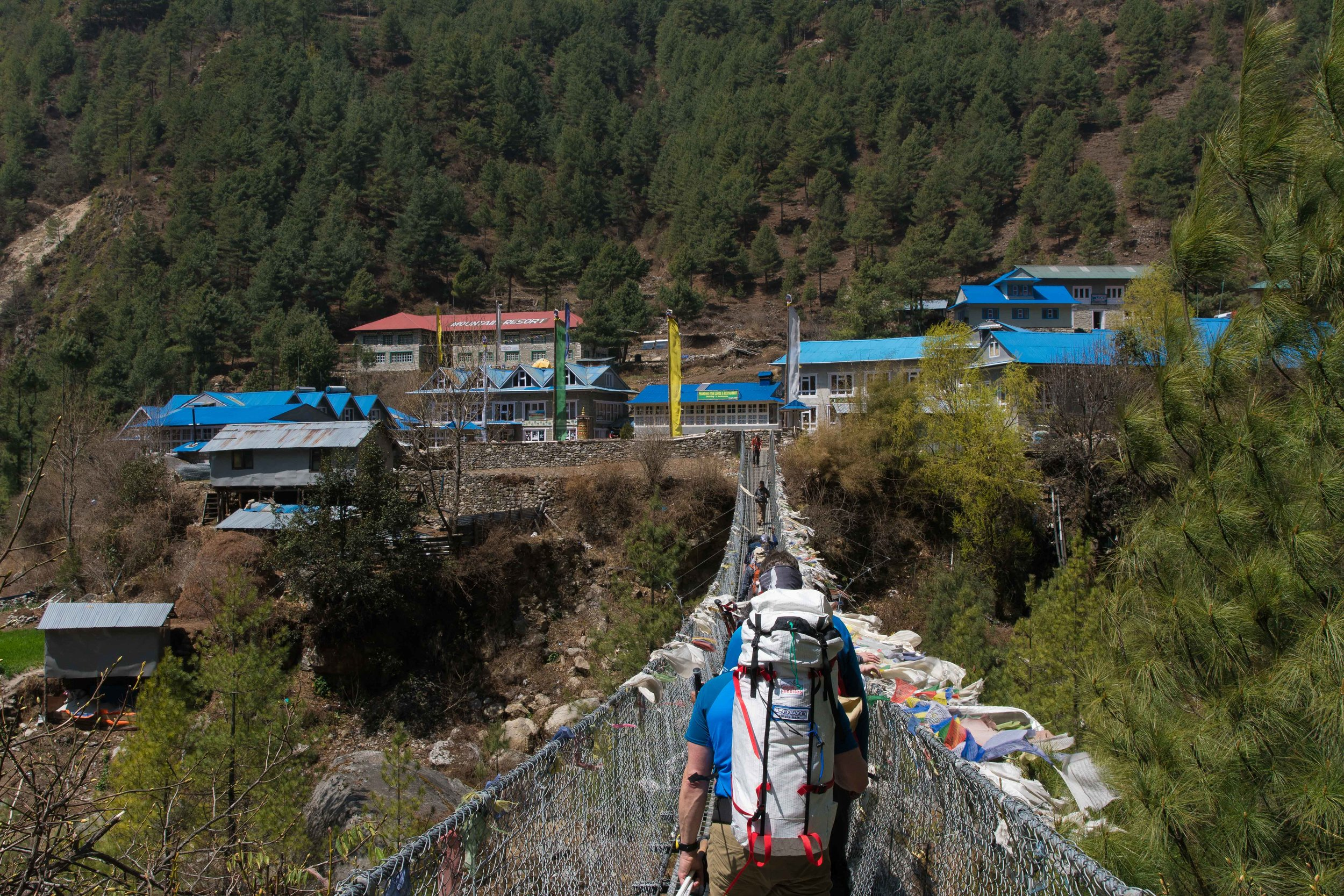 One of the first bridge crossings on the way to Namche Bazar