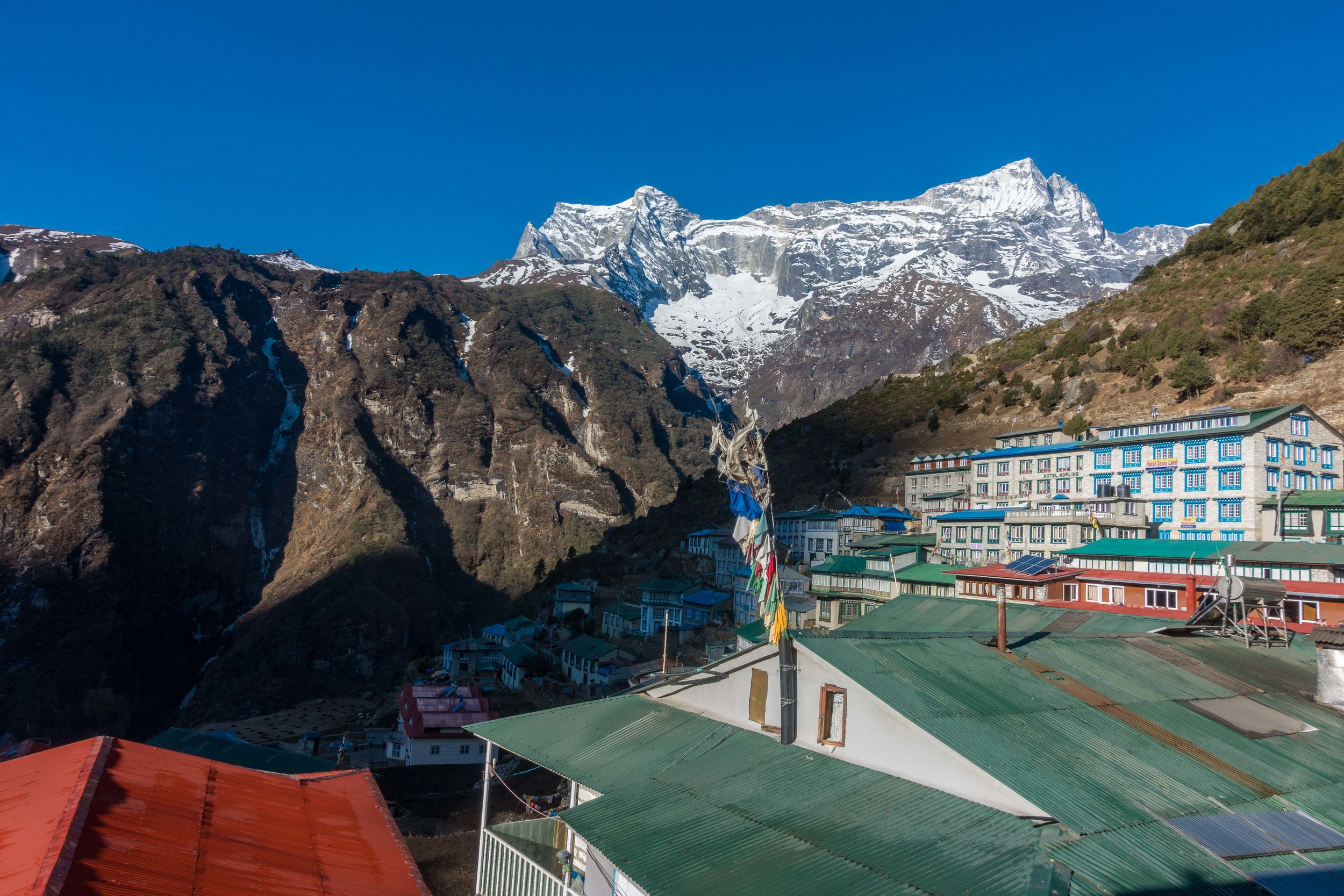 Kongde Ri (20,299'; 6,187 m) across the valley from Namche Bazar