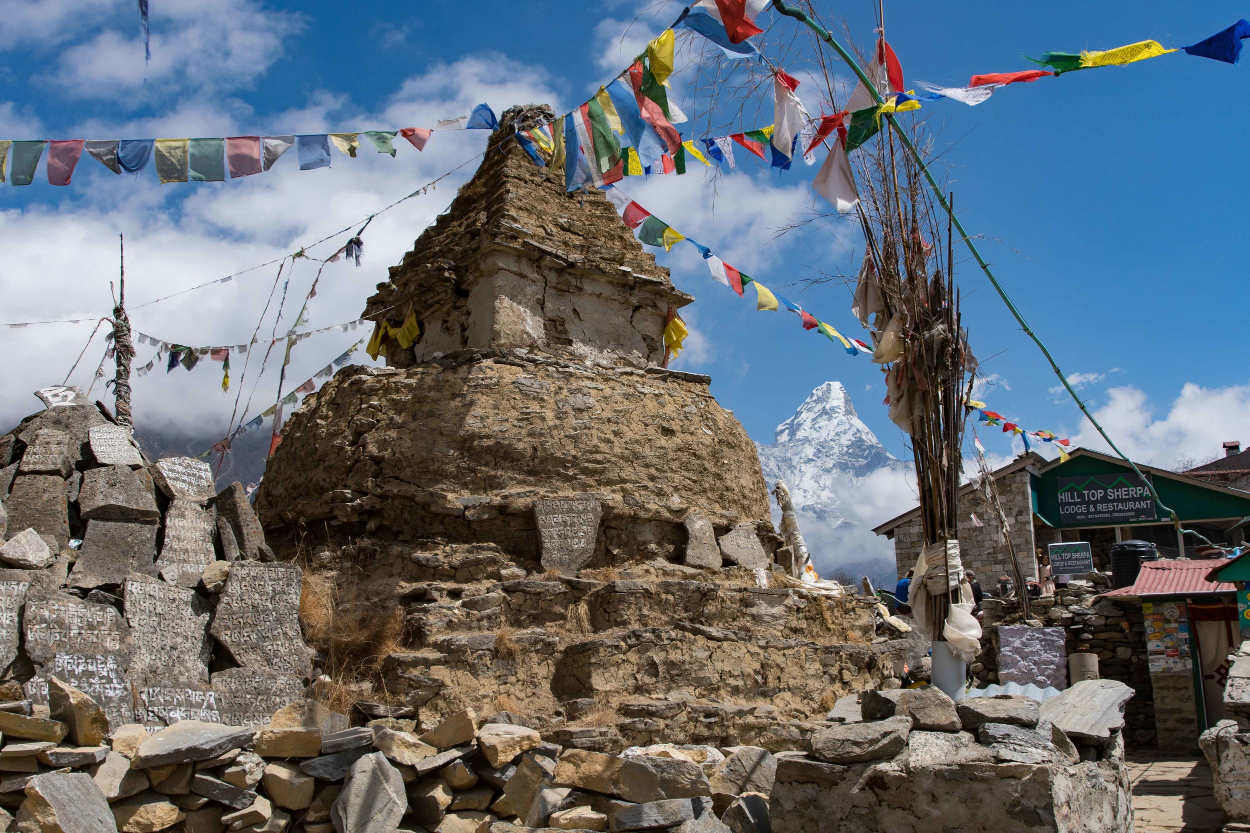Chorten in Mongla with Ama Dablam in the background