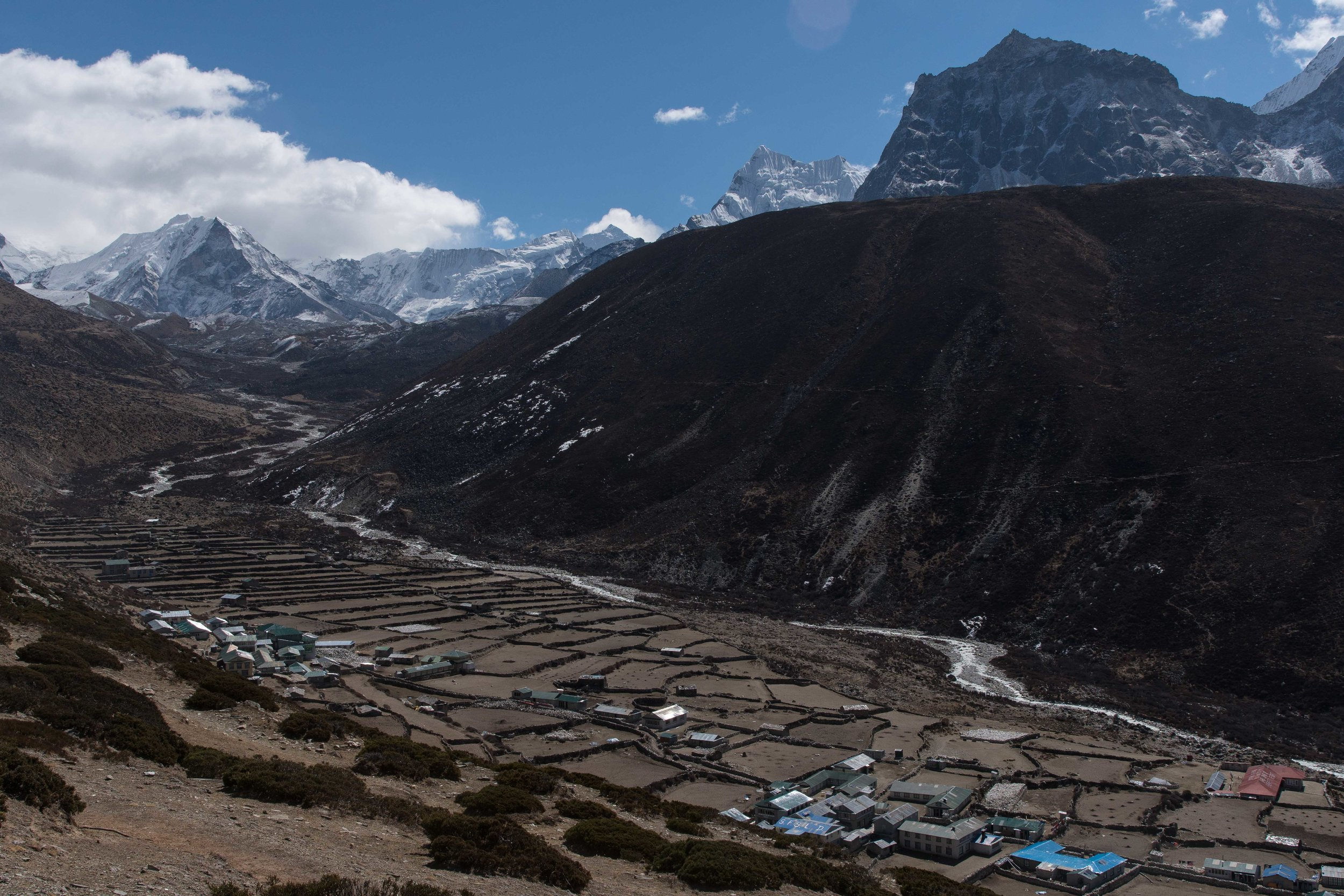 Dingboche with Island Peak in the background