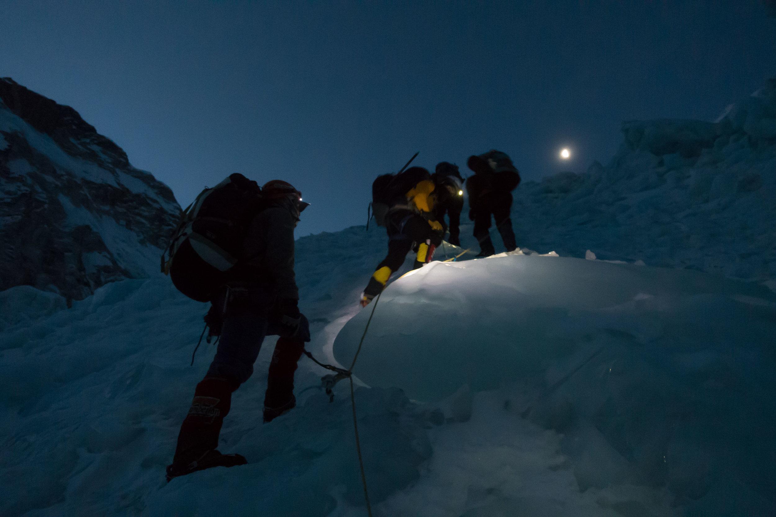 Climbing through the Ice Fall
