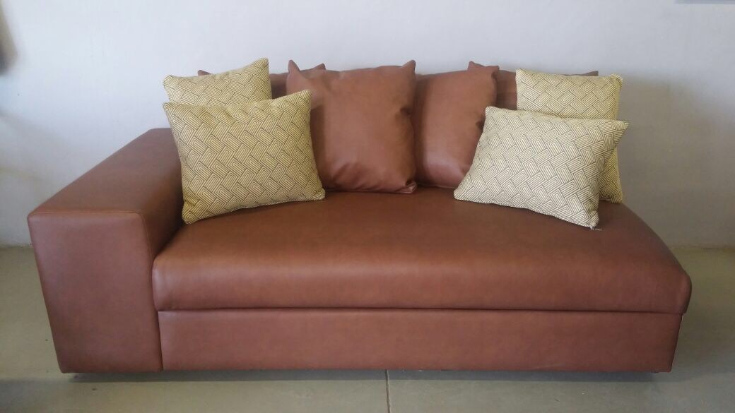 Brown Couch with scatters