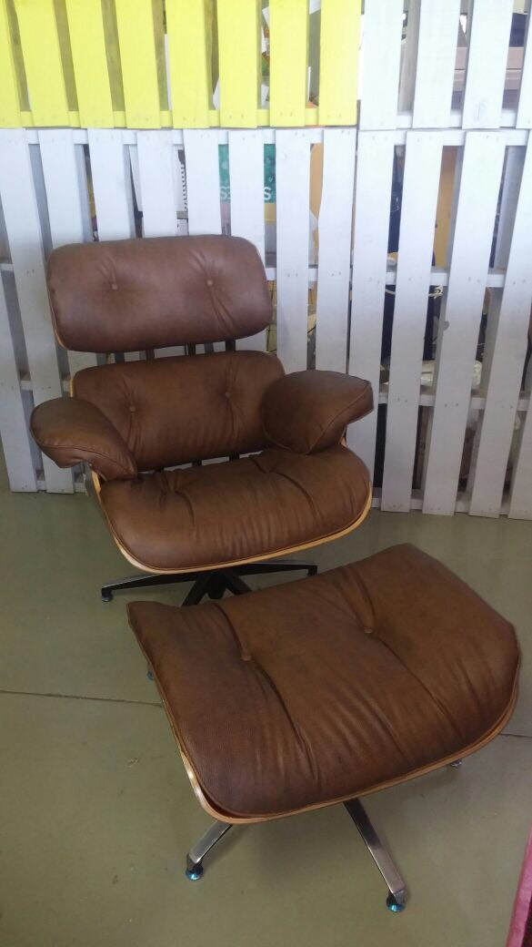 Eames chair in brown leather