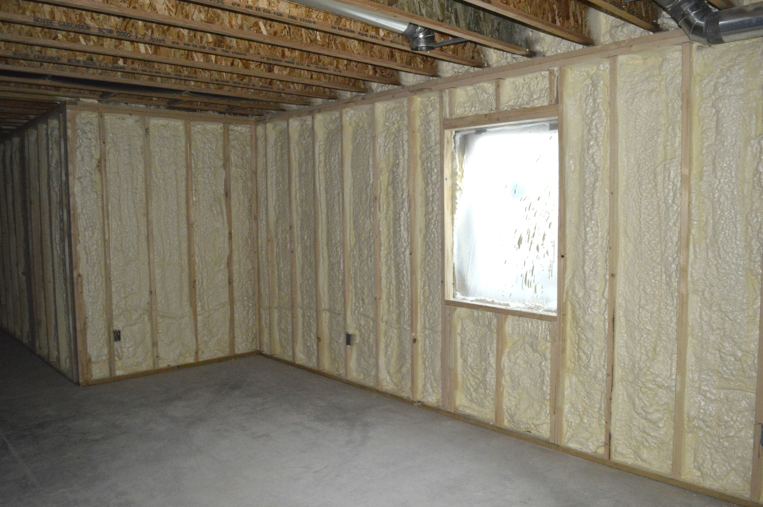 Spray-foam in a basement application