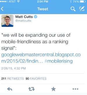 Google Mobile SEO Mobile Friendliness Tweet Cutts.png