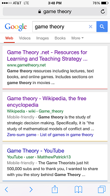 Google mobile search result listing non mobile-friendly site above mobile optimized site