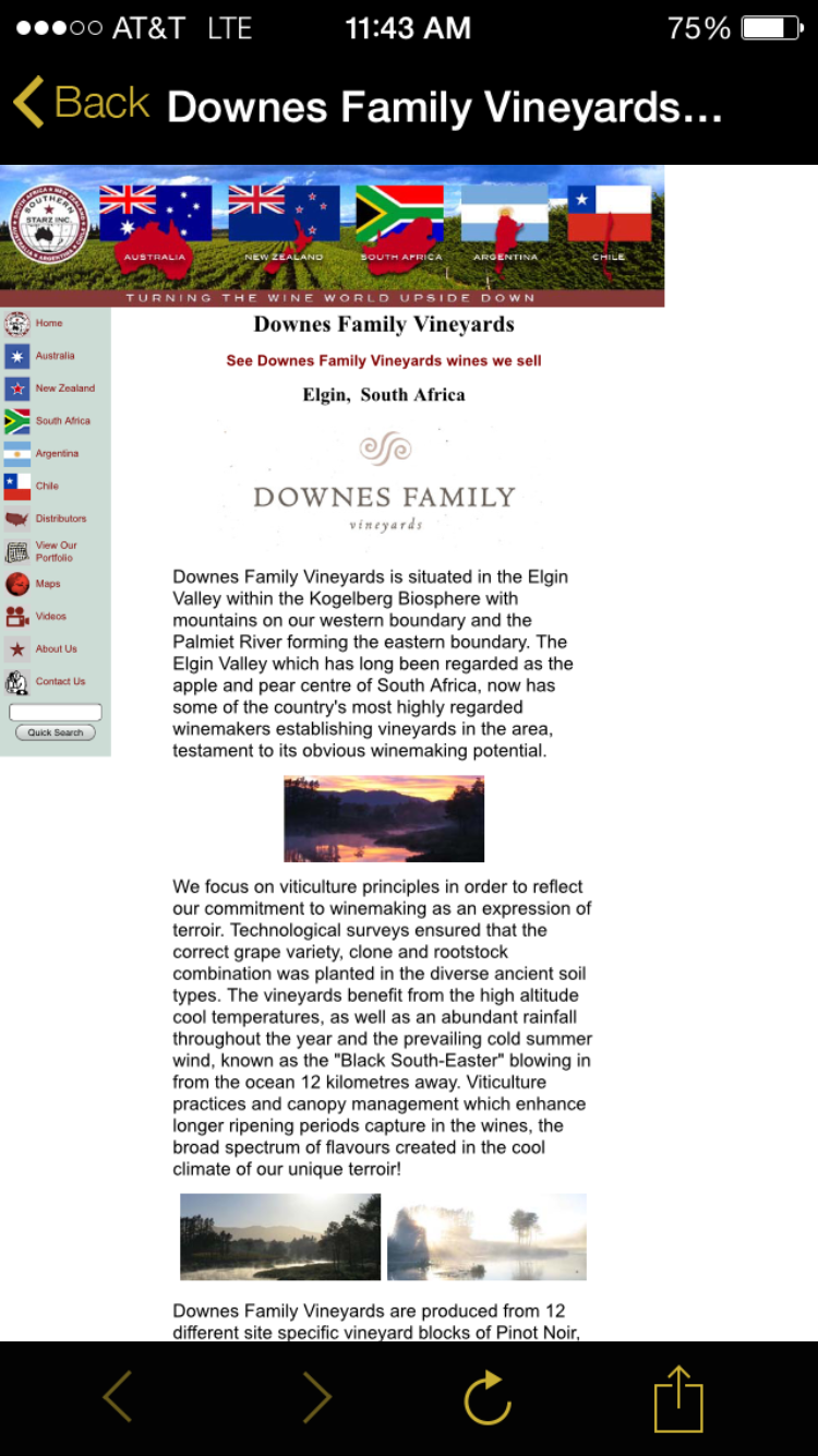Downes Family Vineyards website is not optimized for mobile devices.
