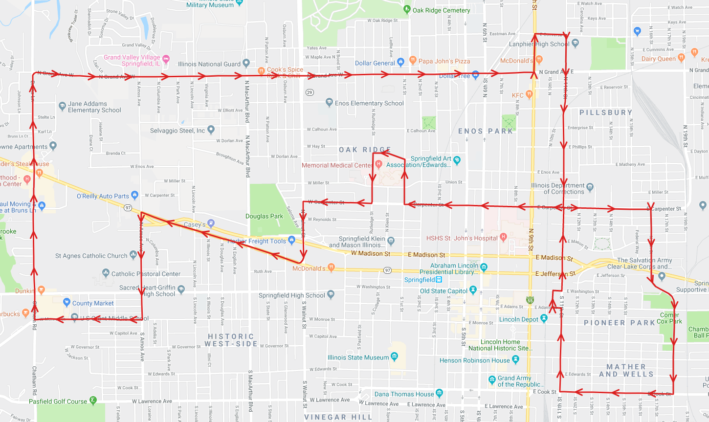 The new Route 5 pattern starting on August 19th, 2019.