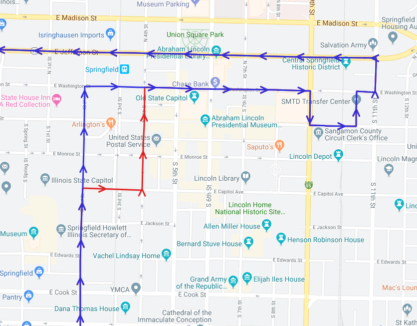 Route 903 will begin using the path in red beginning August 19th, 2019 instead of taking 2nd Street directly to Washington. By utilizing the underpass on Capitol, buses can consistently avoid trains on the 3rd Street rail.