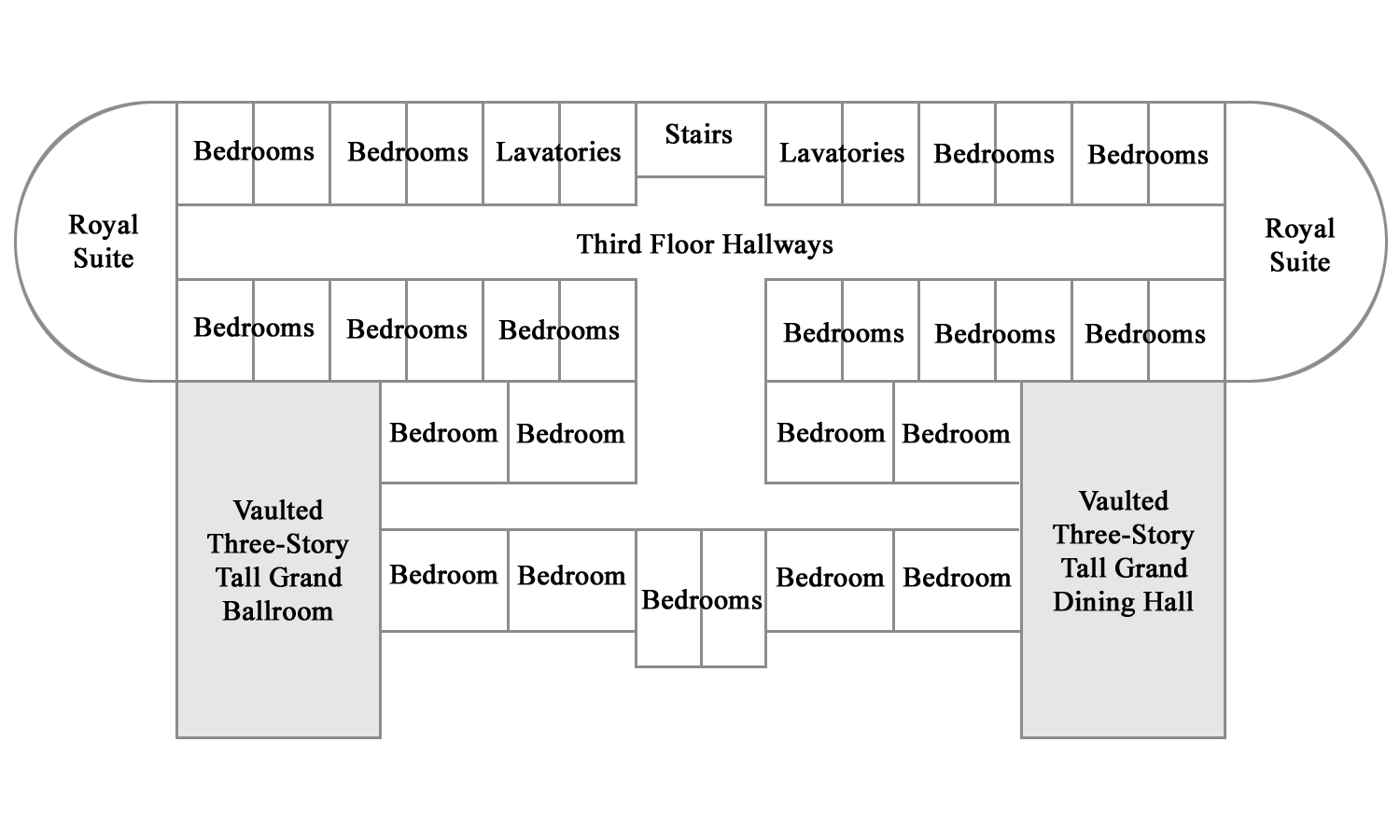 Floor plan for the third floor of the HCC Mansion.