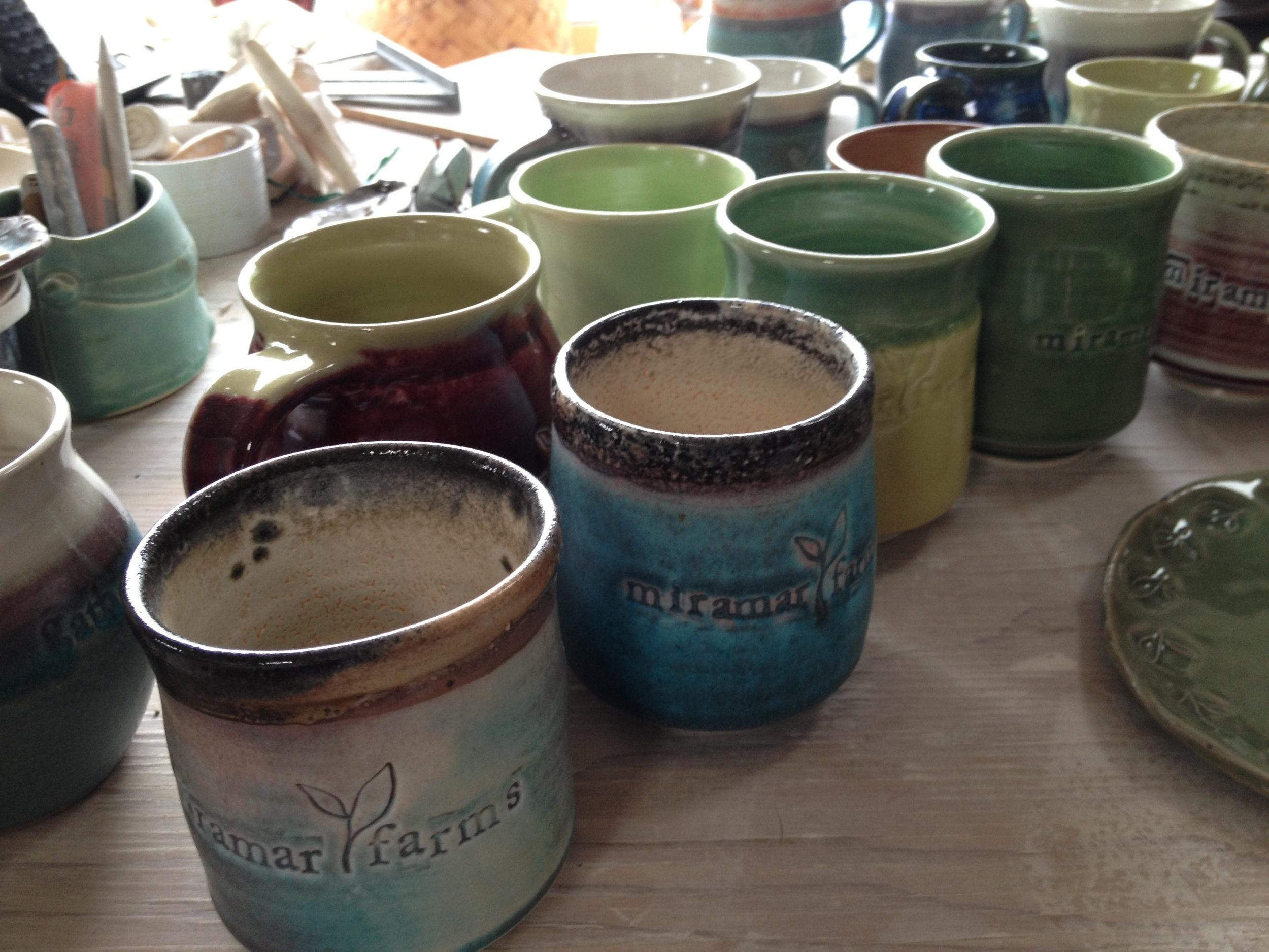 Miramar Farms logo teacups and mugs