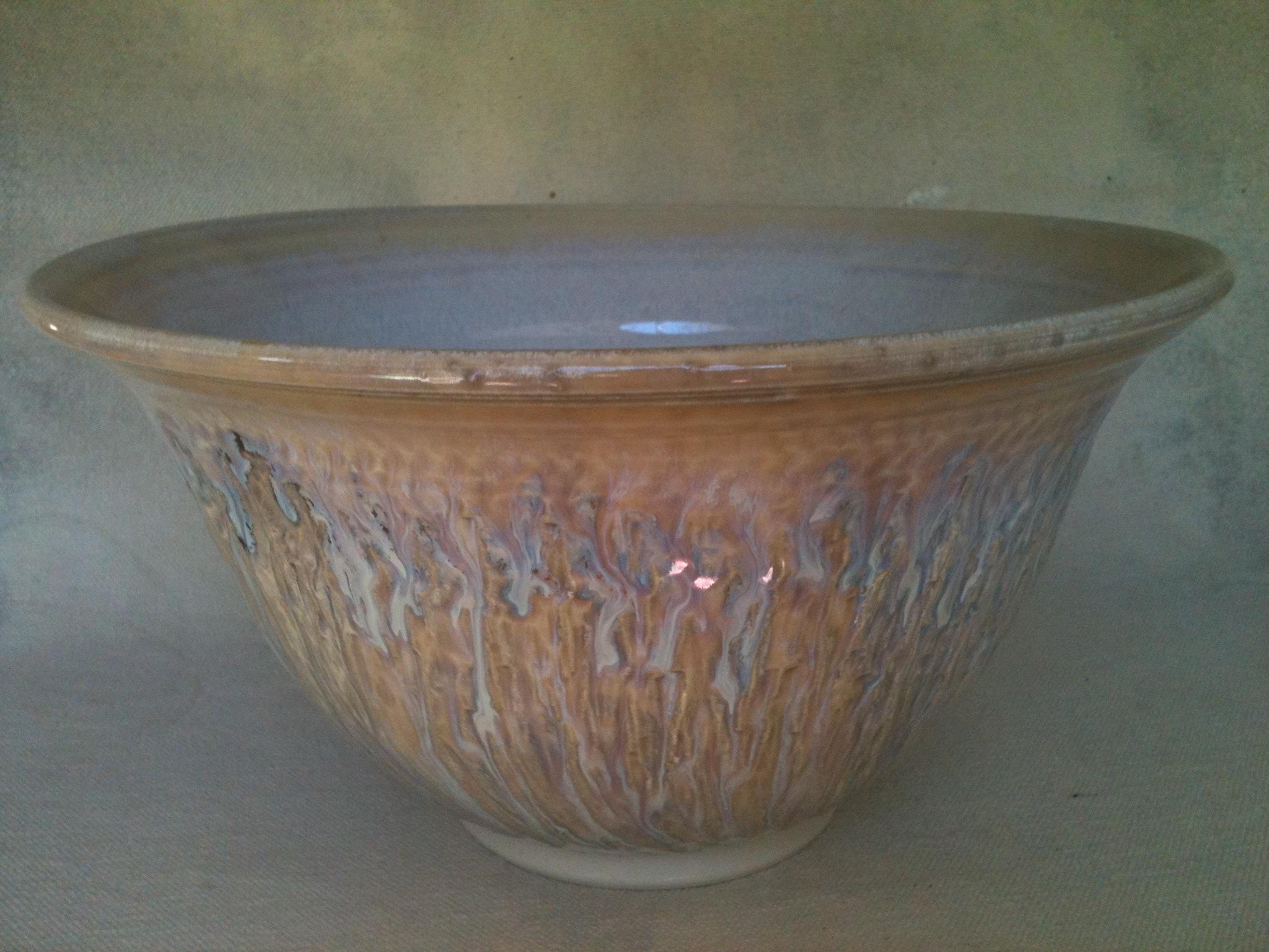 Large chattered porcelain bowl