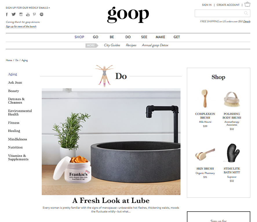 Our idea to feature the product in GOOP turned out to be a good one.